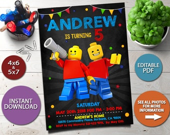 Lego Instant Download Invitation Birthday Party Invitations Invite PDF