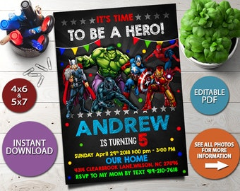Avengers Invitation Birthday Instant Download Superhero