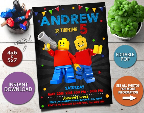 Lego Instant Download Invitation