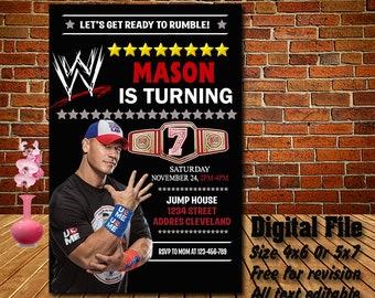 John Cena Invitation Birthday Invitations WWE Invites Printable Personalized Digital File