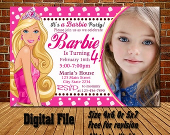Barbie Birthday Invitation Party Girl Invitations Personalized Digital File
