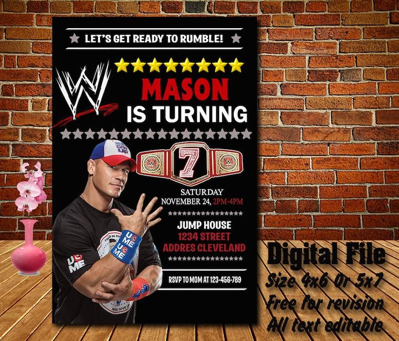 John Cena Invitation Birthday Invitations WWE Invites