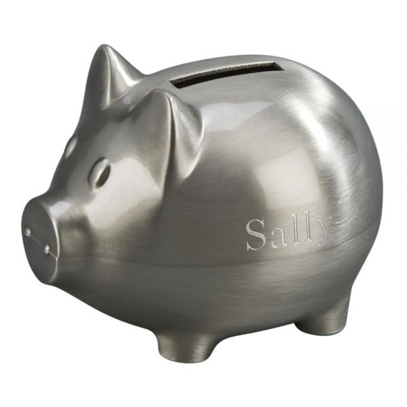 Engraved Small Pewter Matte Finish Piggy Bank Money Bank Baby Etsy