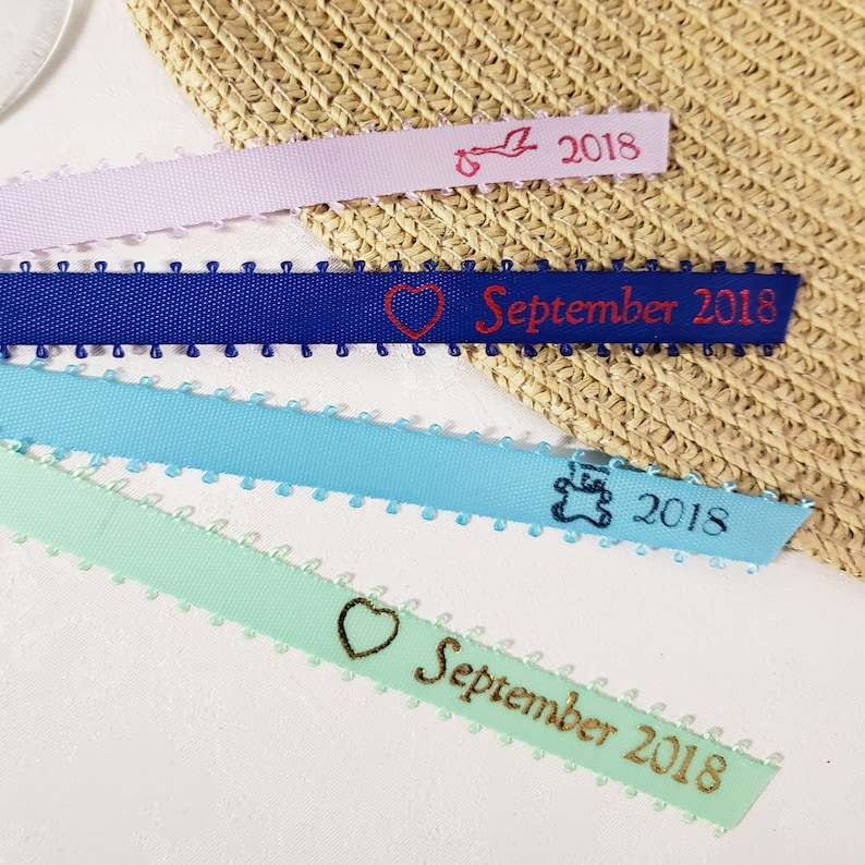 SET OF 100 12 Pre-Cut Picot Feather Edge Satin Hand Pressed Heat Printed Foil Ribbon Favors Bridal Shower Baby Shower Wedding All Occasions