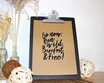 "Linocut print ""Go Now - black"""