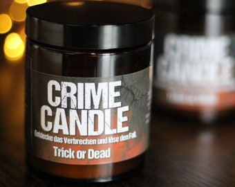 """Original CRIME CANDLE """"Trick or Dead"""" [Limited Halloween Edition] – Puzzle candle with fragrance"""