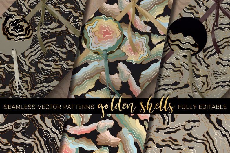 Golden Shells  seamless Vector Patterns  Set in 3 colorways image 0