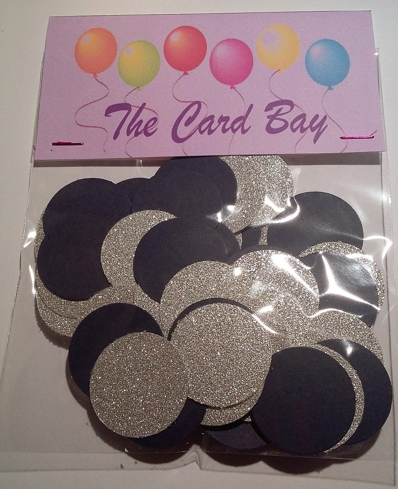 Circle Cut Outs 50th Birthday Party Table Decor Golden Wedding Confetti 1 Black and Gold Glittery Table Confetti Circle Table Scatter
