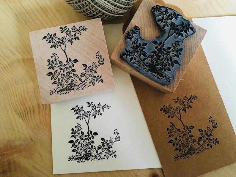 Rubber stamp vintage japanese art botanic flower plants decoration wooden mounted paper craft gift self-made design stempel ex-libris
