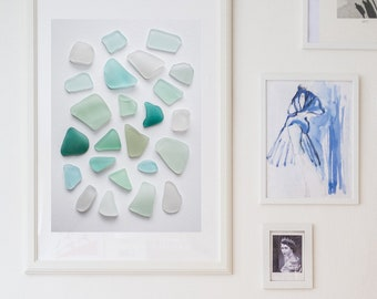Sea glass collection, found objects, sea glass, sea glass print, ocean card, turquoise, tumbled rocks, tumbled glass, glass art