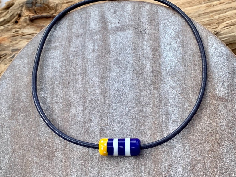 Chain Bille leather necklace with homemade glass image 0