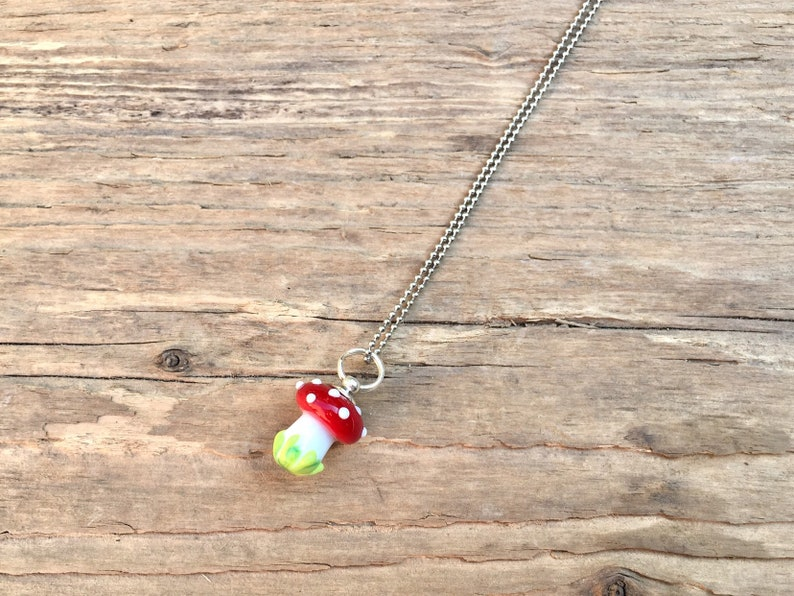 Glass pearl necklace lucky mushroom handmade glass image 0