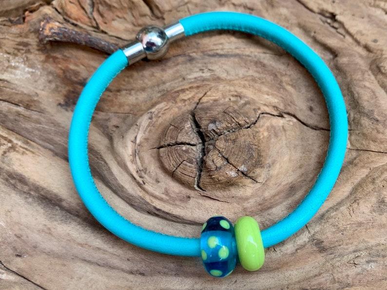 Leather bracelet Linda with handmade glass beads image 0