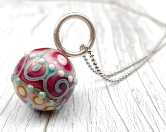 """Candy Bead chain """"Caramel"""" handmade glass bead with silver eyelet and stainless steel chain / ball chain with lampwork pendant / unique /"""