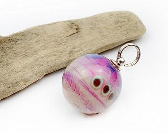 Glass bead pendant ball pink pink sand colors iridescent with punk pattern / handmade glass bead,