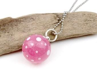 "Glass bead pendant ball ""pink dots"" handmade glass bead, lampwork pendant / chain pendant/"