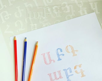 arts and craft learning for kids Armenian Alphabet Stencil customized stencil