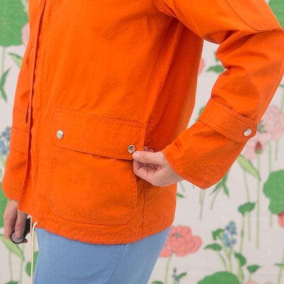 Vintage 70s Orange Windbreaker Jacket Hoodie - image 6