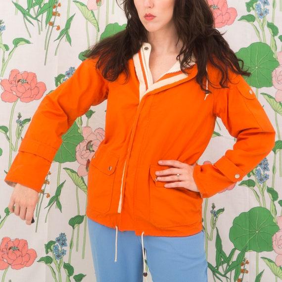 Vintage 70s Orange Windbreaker Jacket Hoodie - image 2