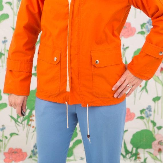 Vintage 70s Orange Windbreaker Jacket Hoodie - image 10