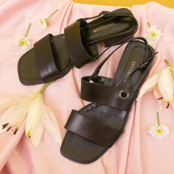 Vintage 90s Anne Taylor Sandals Slingback Heels /… - image 2
