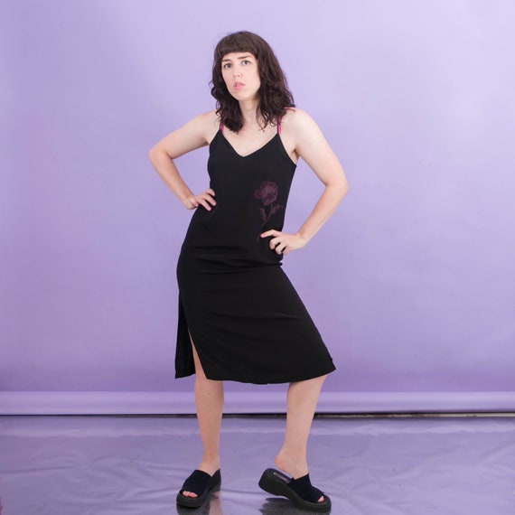 Vintage Black Silk Slip Dress Floral / 90s 00s Y2k
