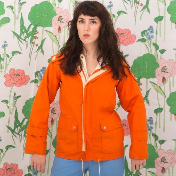 Vintage 70s Orange Windbreaker Jacket Hoodie - image 1
