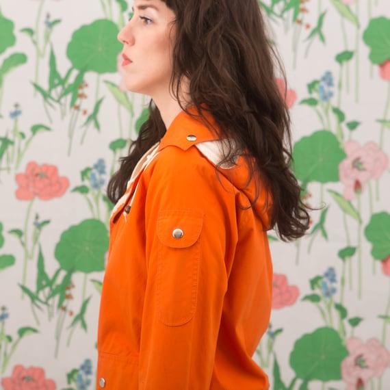 Vintage 70s Orange Windbreaker Jacket Hoodie - image 9