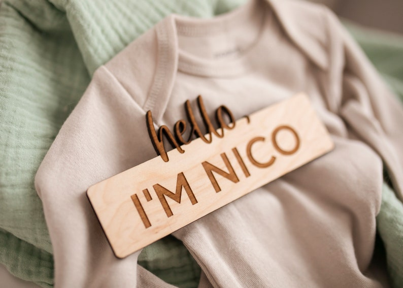 Newborn photo prop Wooden birth announcement Birth announcement Hello my name is sign