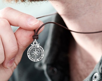b4b26436e56 Personalised Travel Safe Compass Large Saint Christopher Solid Silver  Necklace