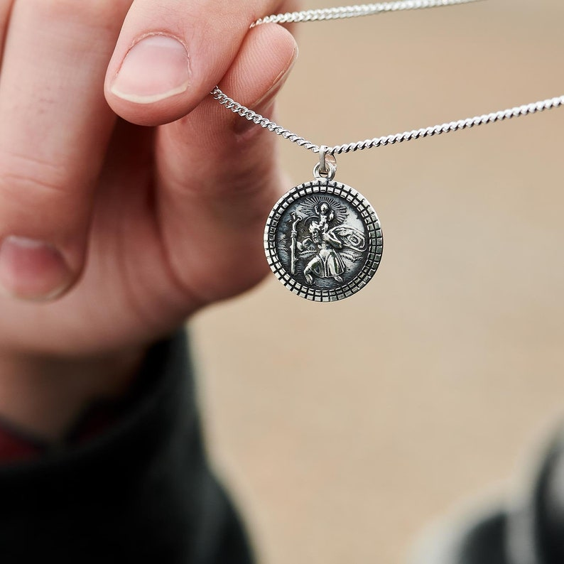 Saint Christopher Necklace in Gift Box for Boy Dad etc Son Godson Man