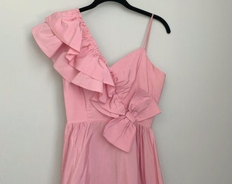Vintage Dance Allure 80s Pink Taffeta Ruffle Bow One Shoulder Dress