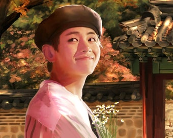 Evening Walk   Kim Taehyung Oil Painting Print   by Bess Day   Custom Sizes Available   BTS Fine Art