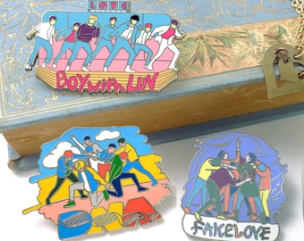 3 BTS Enamel Pin Set - DNA, Fake Love, Boy with Luv - Bangtan Iconic Moments Collection One