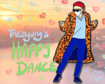 Available Now!   Taehyung Happy Dance Enamel Pin   1.5 inches tall   BTS V Leopard Coat Happiness Pin