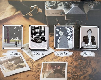 """Beautiful Winter Bear 4 Pin Set   Kim Taehyung   enamel pin gift set   Large 1.5"""" pins"""