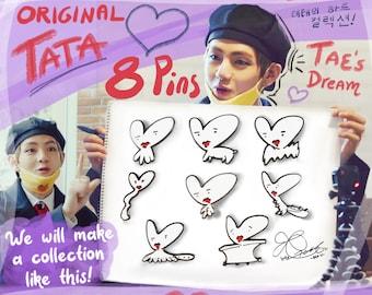 Drawn by Taehyung   8 BTS Pin Set - Original TATA BT21 Taehyung Drawings   Fun Enamel Pins