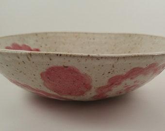 Wheel Thrown Grapefruit Speckled Bowl Handmade Pink Speckled Bowl