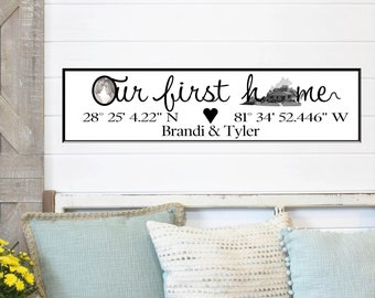Our Home Coordinates Sign with Photos, Our First Home Sign, Latitude Longitude Sign, GPS Coordinates, Decor, Wall Decor, New Home Sign