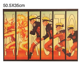 Naruto Shippuden Poster Narutos Transformation Stage Into  Tails Japanese Anime Manga Poster Kakashi Sasuke Hinata