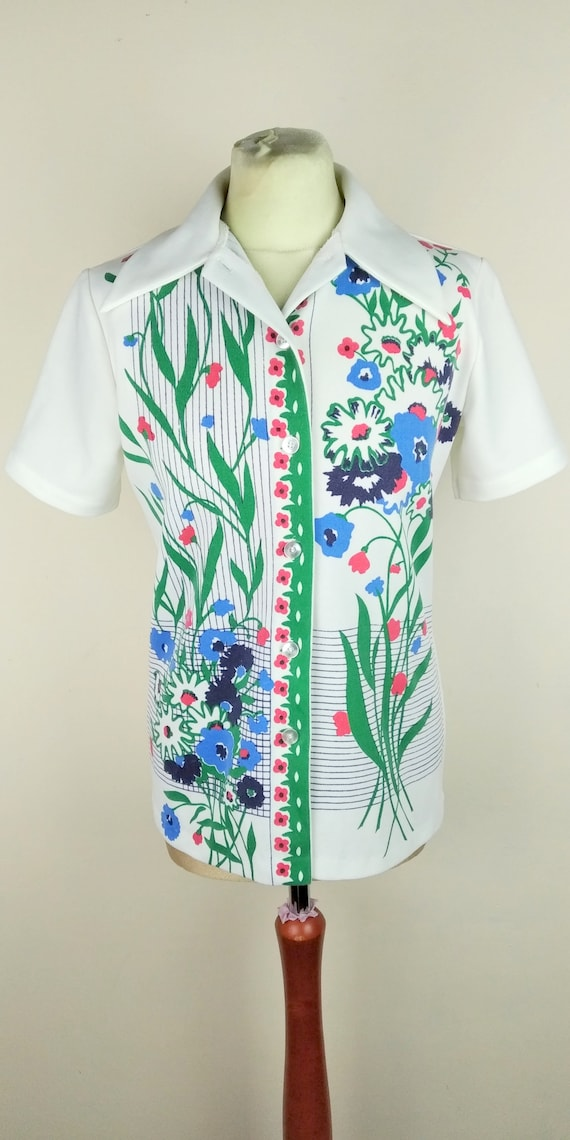 Vintage 70s Cuban Collar Floral Lightweight Butto… - image 1