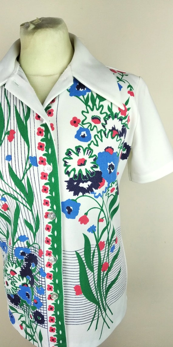 Vintage 70s Cuban Collar Floral Lightweight Butto… - image 2