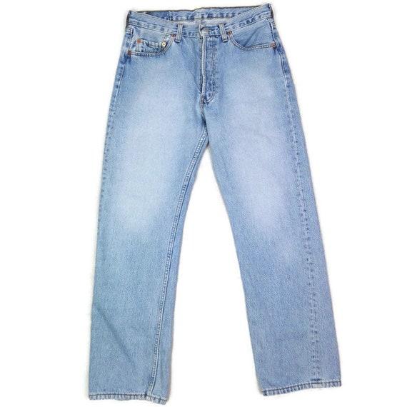 Vintage 90s Levis 501 Blue Light Washed Denim Jean