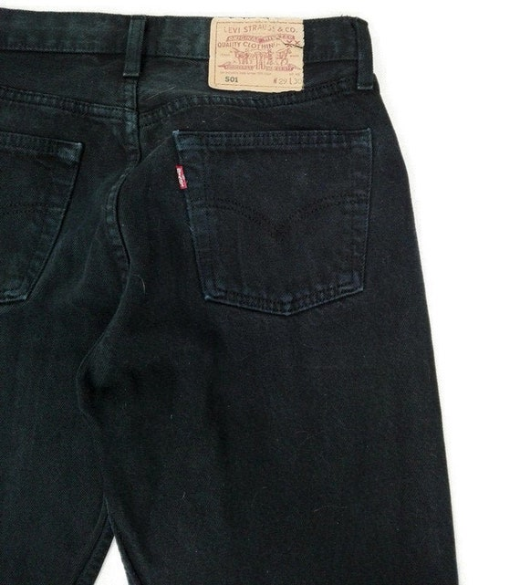 Vintage 90s Levis 501 Black Denim Jeans 29x30 Mom