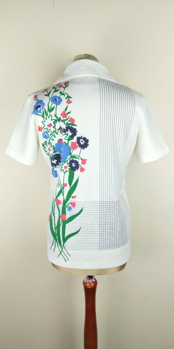 Vintage 70s Cuban Collar Floral Lightweight Butto… - image 3