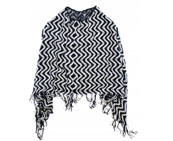 Missoni Black And White Striped Oversize Mohair Po