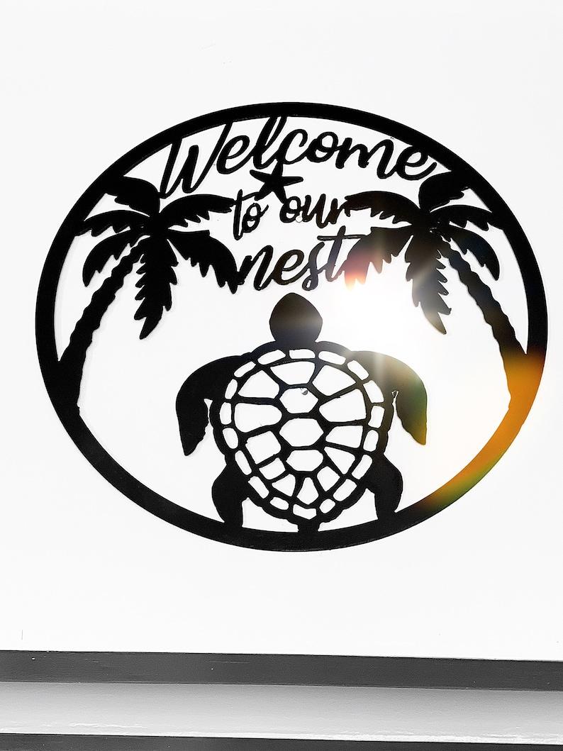 PALM TREE WELCOME SIGN METAL WALL HOME DECOR HOUSE ART