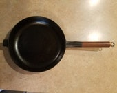 Le Creuset 26 Cast Iron Skillet wood and copper handle