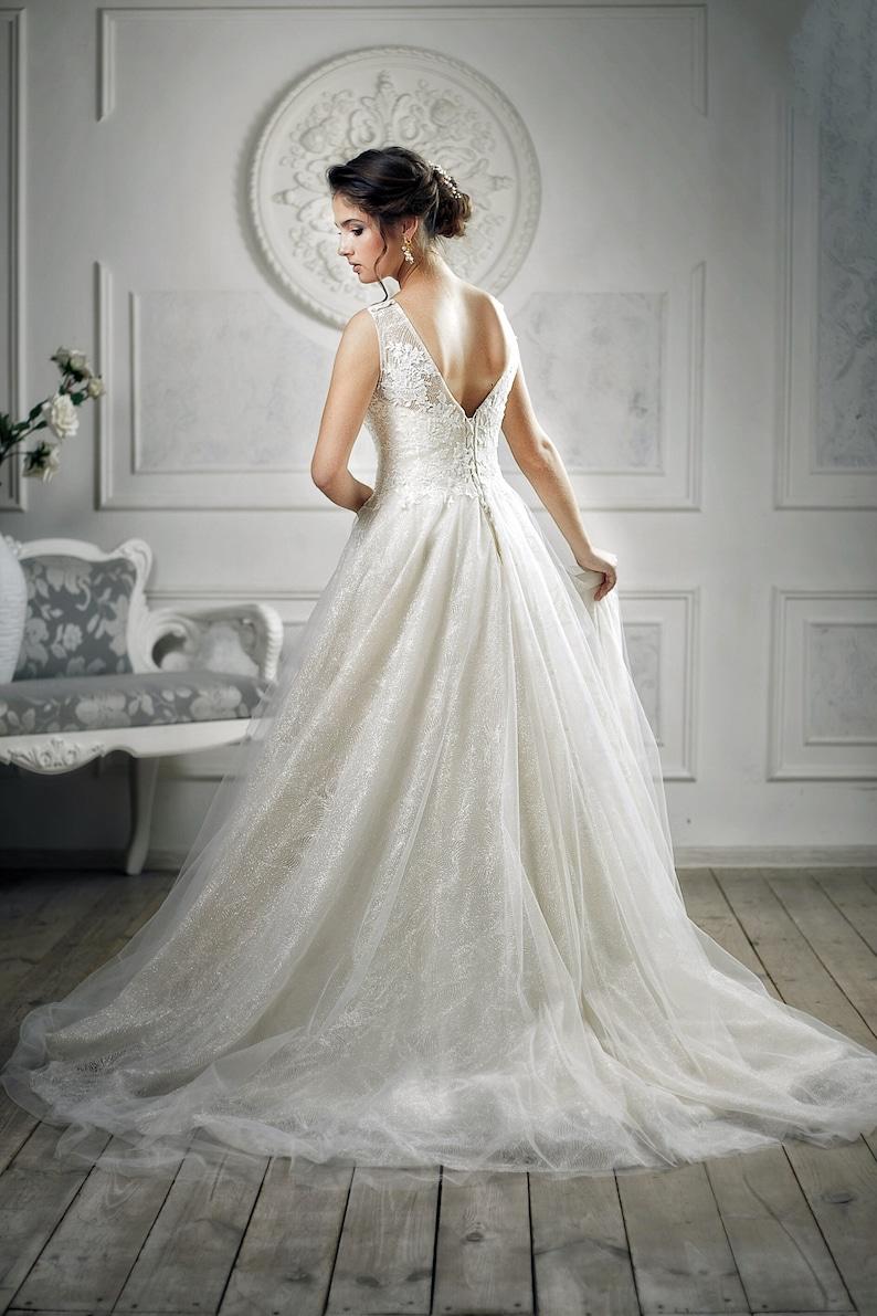 2134e149341 Sparkle glitter wedding dress Nude wedding dress Simple