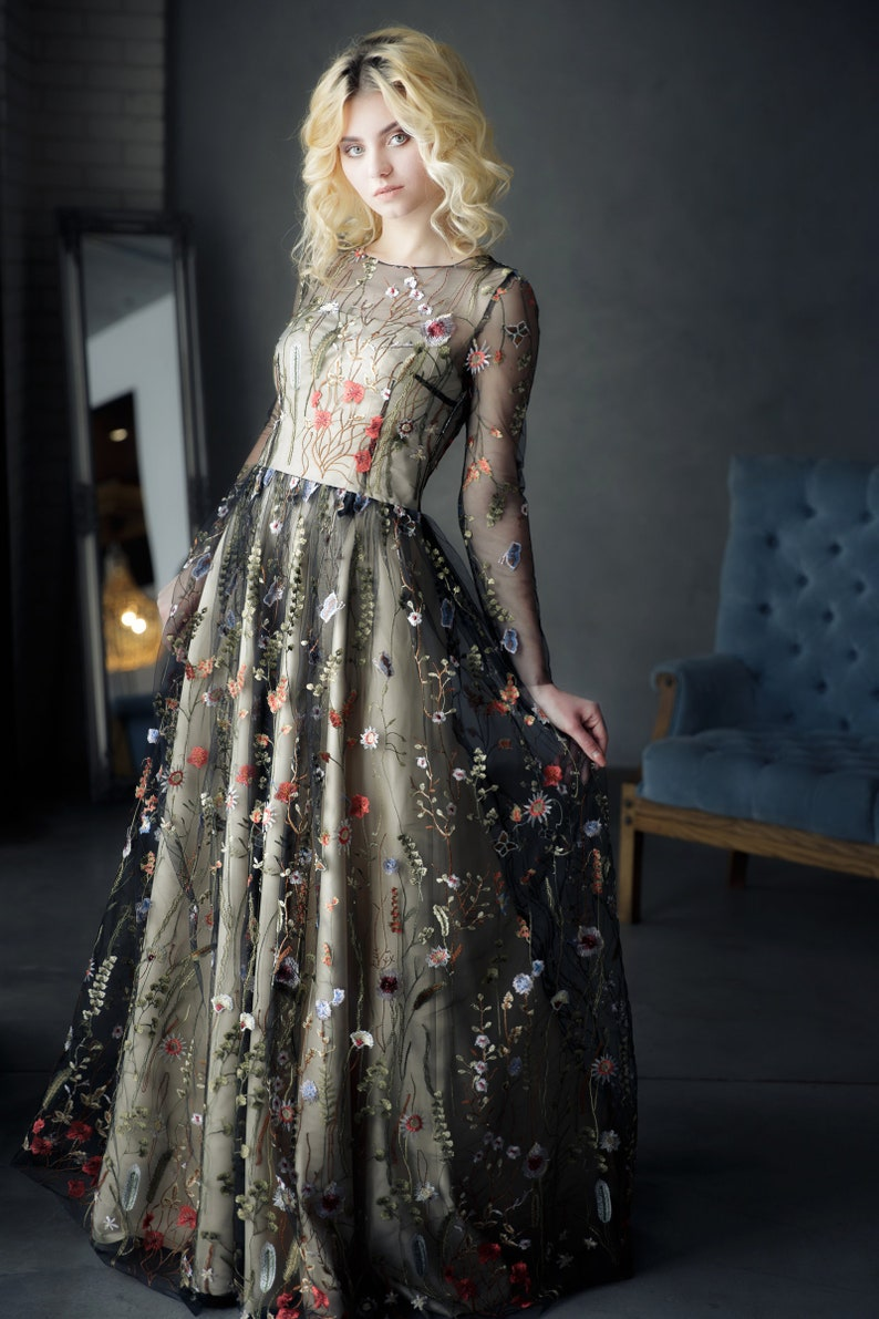 Flowered dress Black wedding dress with flowers Flower dress image 1